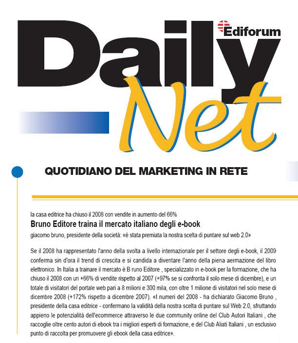 Secondo il quotidiano Daily Net, Bruno Editore traina il mercato degli ebook con il Web 2.0