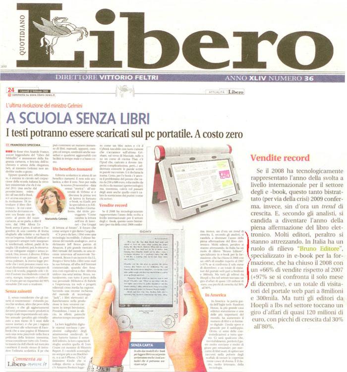 Bruno Editore sul quotidiano Libero di Vittorio Feltri